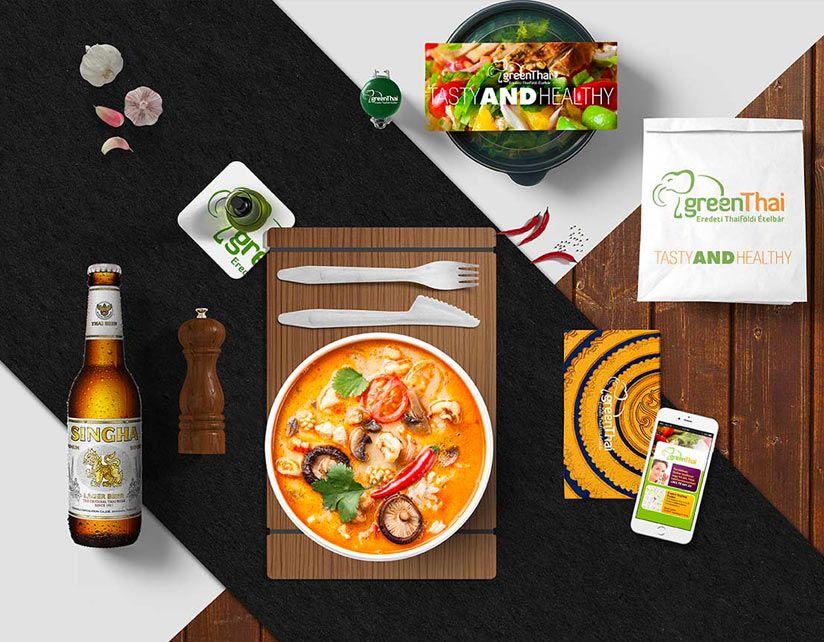 gree nthai thai étterem, ételbár grafikai arculati branding
