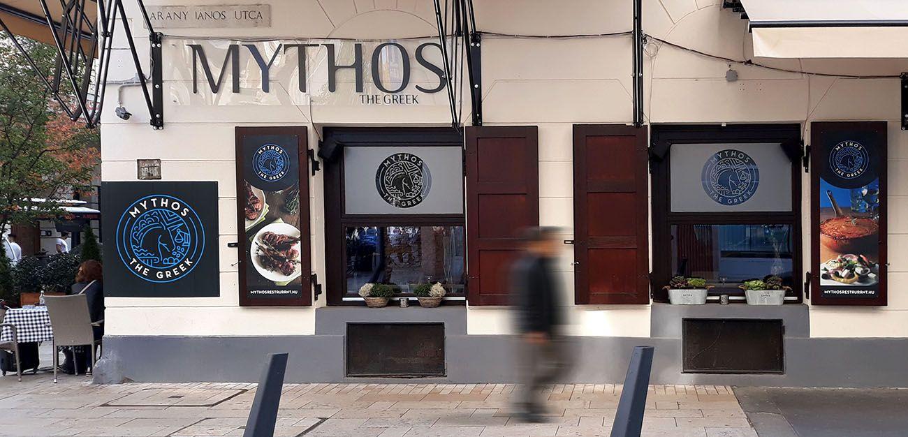 exterior tervezés, étterem kirakat fóliázás