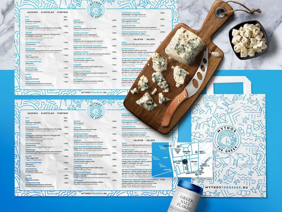 arculat tervezés étteremnek, névjegykártya, reklámzacskó