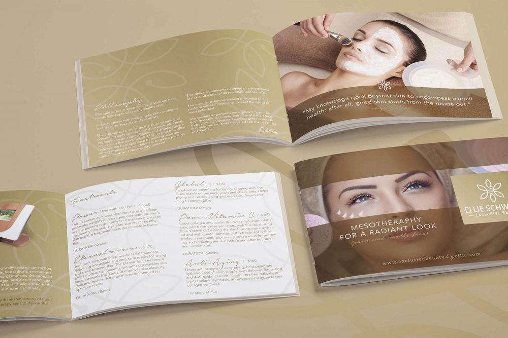 brossúra arculat tervezés kozmetikai szalon kiadvány