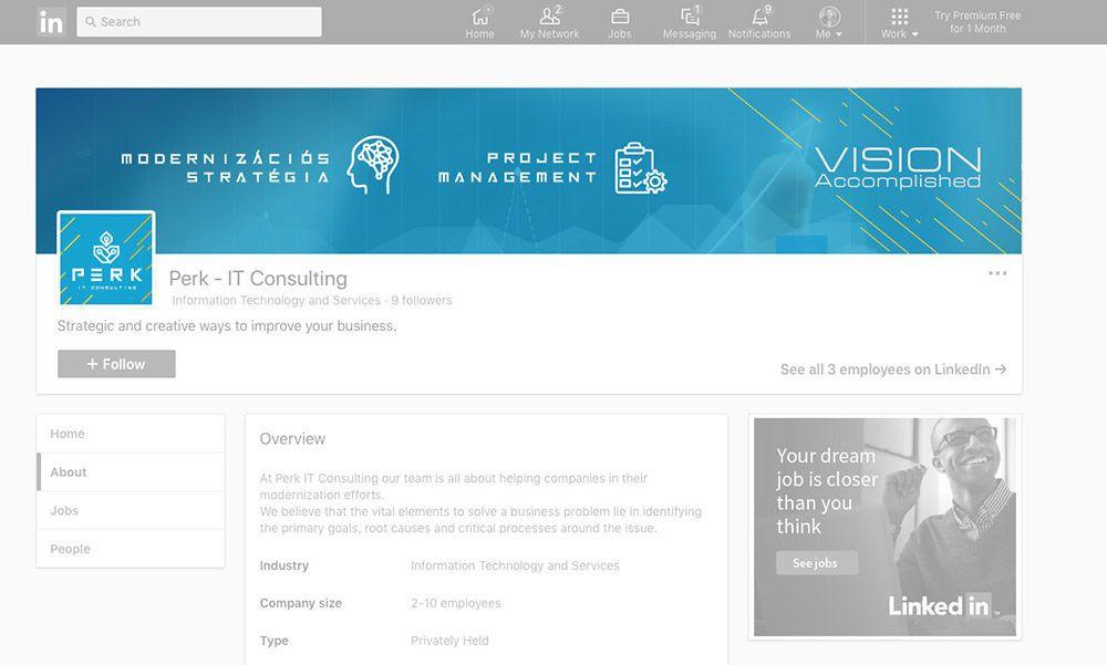perk linkedin corporate arculat tervezés